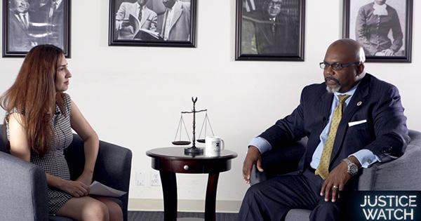 Attorney Zulu Ali being interviewed on Justice Watch Radio