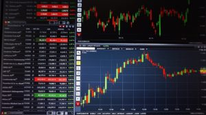 Trading stock on a laptop software