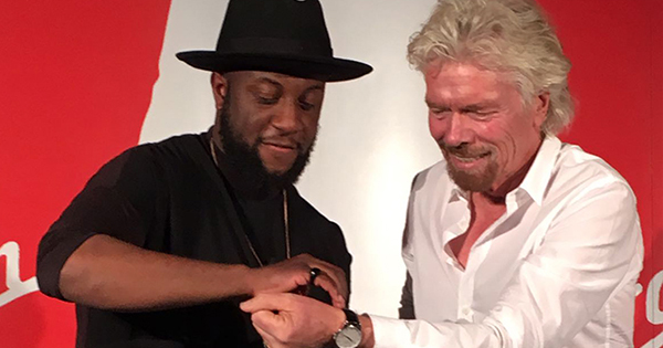 Will Adoasi, founder of Vitae London watches, with Richard Branson