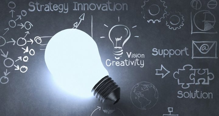 lightbulb on words indicating innovation and creativity per chalk board